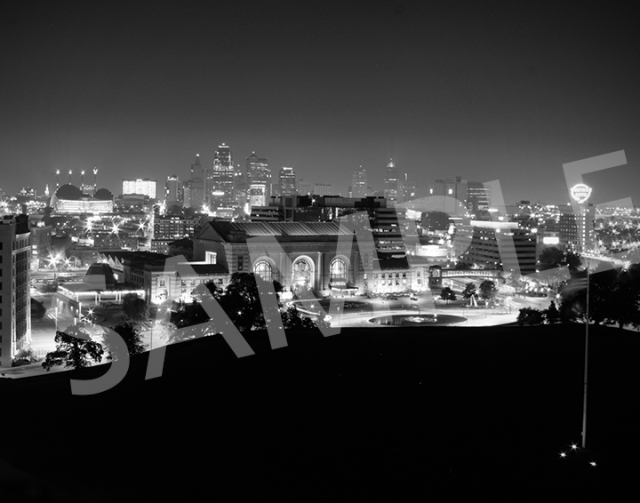 Downtown Kansas City at night - B&W