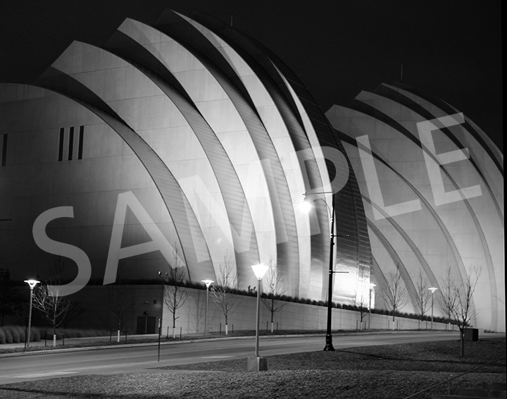 Kauffman Center for the Performing Arts at night - B&W