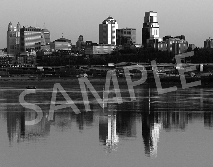 Kansas City skyline - B&W