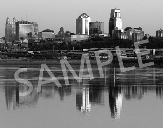 Kansas City skyline - B&W
