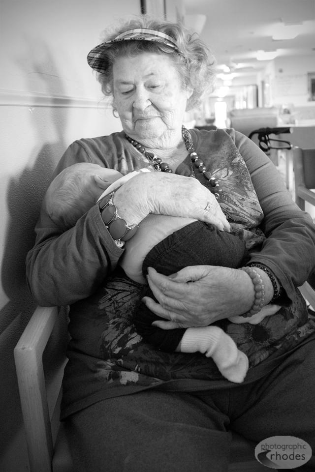 Great-grandma Verle was thrilled to hold Baby K at the nursing home.