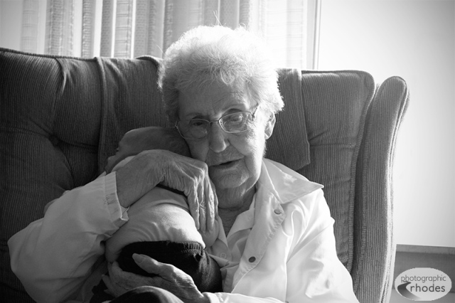 Great-grandma Lea holds Baby K in her home, at 6 weeks old.